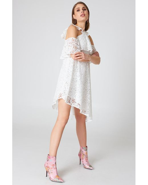 ... NA-KD - White Cold Shoulder Frill Lace Dress - Lyst ... 1023d1768