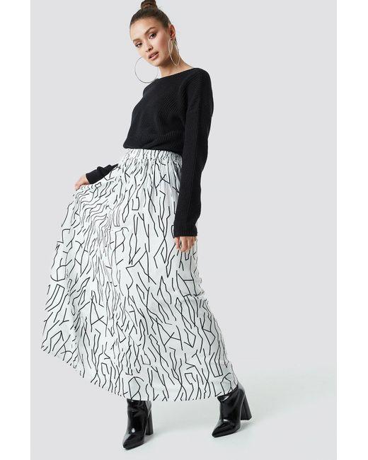 6daec59c96 NA-KD - Black Abstract Print Maxi Skirt White - Lyst ...