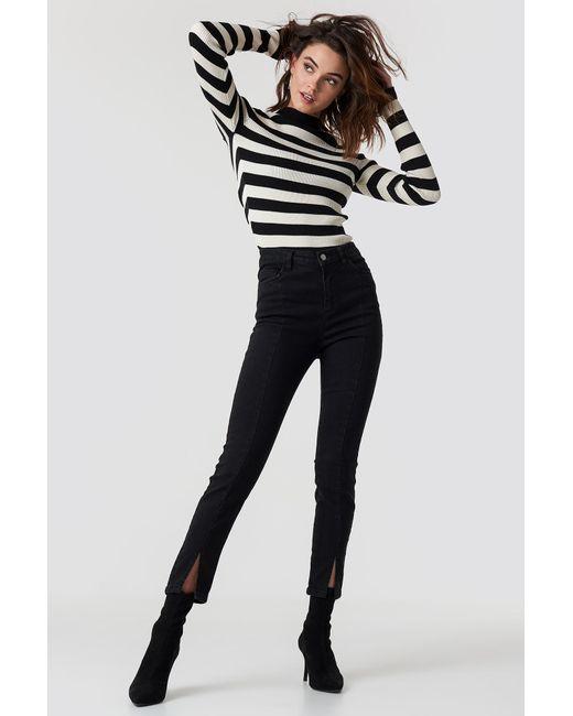 f32342bf7132 NA-KD Highwaist Skinny Front Slit Jeans Black in Black - Save 53% - Lyst