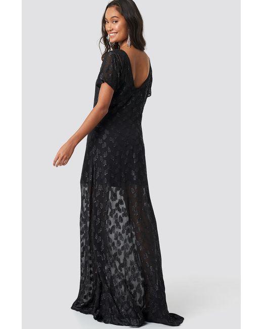 36b05f5d ... NA-KD - Sheer Glitter V-neck Maxi Dress Black - Lyst ...