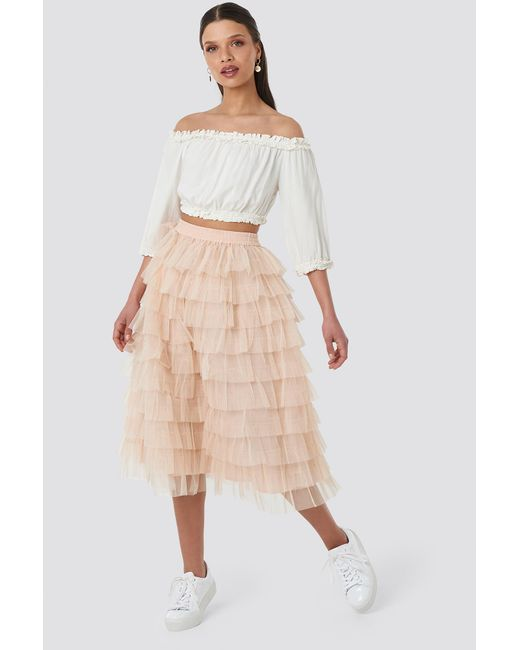 0ea8cca52c NA-KD Tulle Maxi Skirt Pink in Pink - Lyst