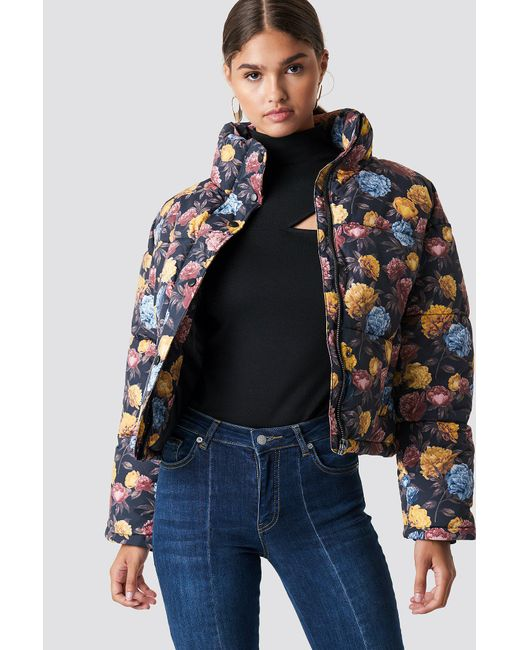 NA-KD - Multicolor Short Padded Jacket Autumn Flowers - Lyst