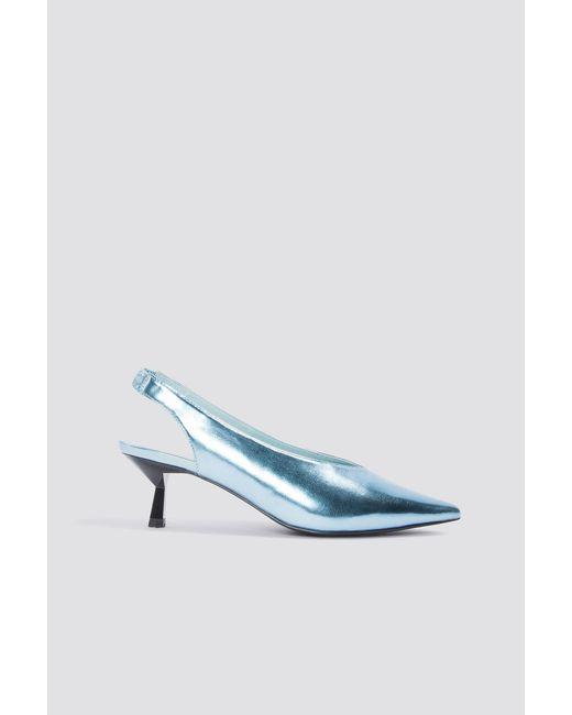 NA-KD Metallic Kitten Heel Pumps Ice Blue in Blue - Lyst
