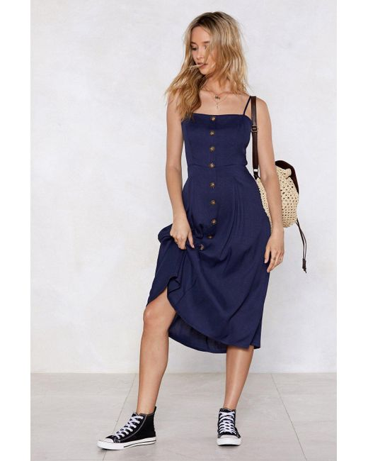 Nasty Gal - Blue We're Just The Midi Woman Button Dress - Lyst