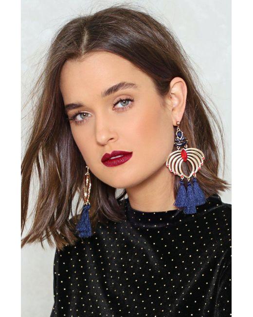 Nasty Gal | Blue Swing By Tassel Earrings Swing By Tassel Earrings | Lyst