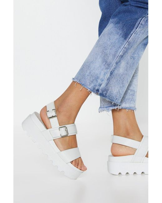 Nasty Gal - White Work Your Way Up Faux Leather Platform Sandals - Lyst