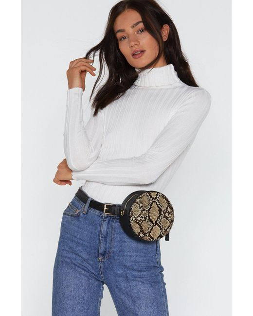 Nasty Gal - Natural Want Fangs To You Snake Belt Crossbody Bag - Lyst