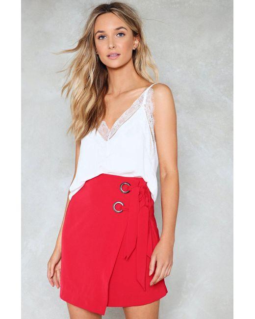 Nasty Gal | Red Eyelet Wrap Tie Mini Skirt Eyelet Wrap Tie Mini Skirt | Lyst