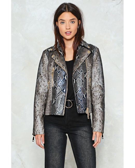 Nasty Gal | Natural Wild And Free Snake Moto Jacket | Lyst