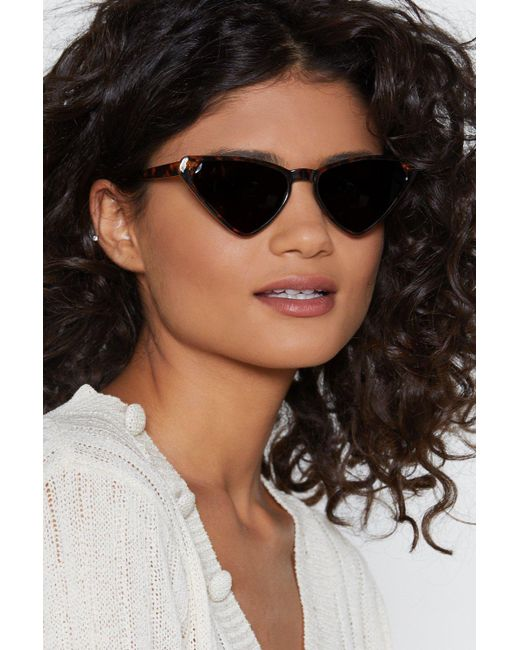 """Nasty Gal - Brown """"play All The Angles Angular Cat-eye Shades"""" - Lyst"""