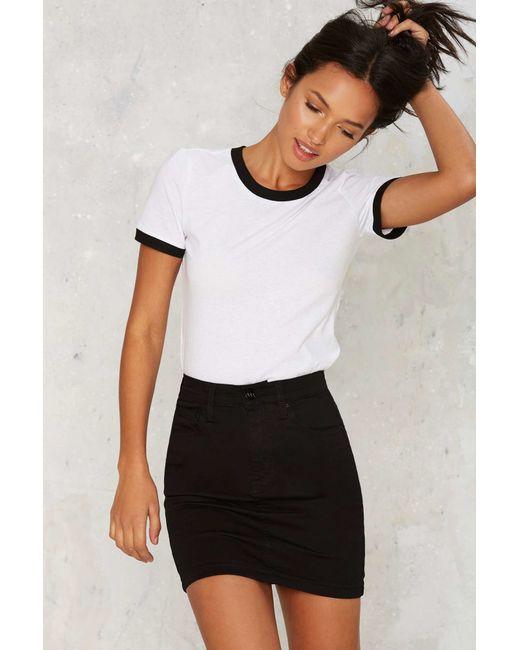 Nasty Gal | Black Zee Gee Why Meet My Mum Denim Skirt | Lyst