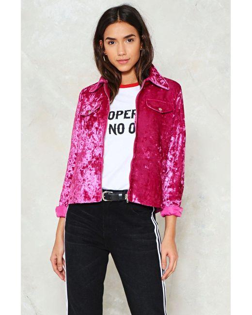 Nasty Gal - Pink Crush Velvet Jacket Pink Crush Velvet Jacket - Lyst