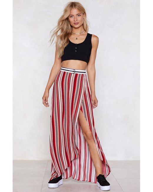 Nasty Gal - Red Stripe In Your Number Maxi Skirt - Lyst