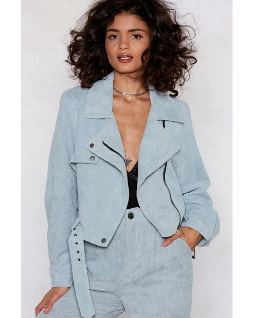Nasty Gal - Blue Play The Right Cords Moto Jacket - Lyst