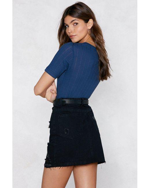 bad50f343f ... Nasty Gal - Black Distressed Is More Denim Skirt - Lyst ...