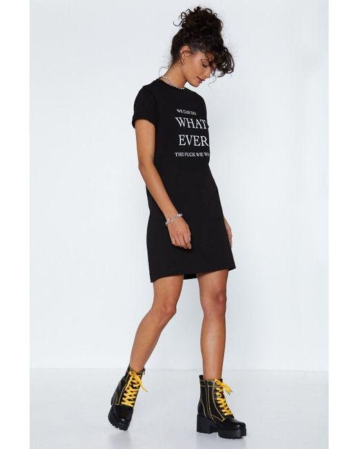aa7b8ffdfa1fe ... Nasty Gal - Black Whatever The Fuck We Want Tee Dress - Lyst ...