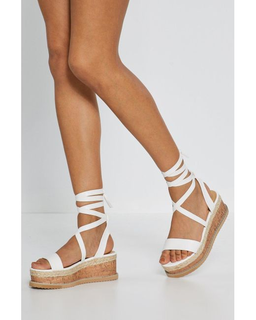 Nasty Gal - White Tied And Tested Wrap Cork Sandals - Lyst