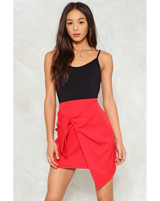 Nasty Gal | Red Bow Front Asymmetric Mini Skirt Bow Front Asymmetric Mini Skirt | Lyst