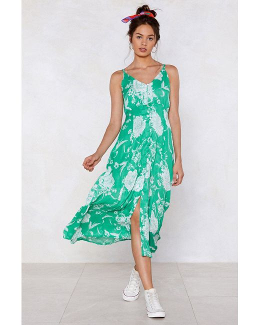 "Nasty Gal - Green ""can't Let Grow Floral Dress"" - Lyst"