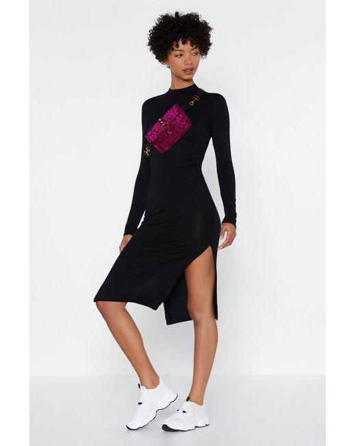 Nasty Gal - Black High Neck Split Leg Bodycon Dress - Lyst