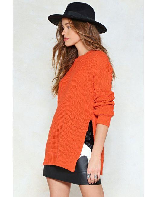 Nasty Gal - Orange Let's Split Up Sweater Let's Split Up Sweater - Lyst