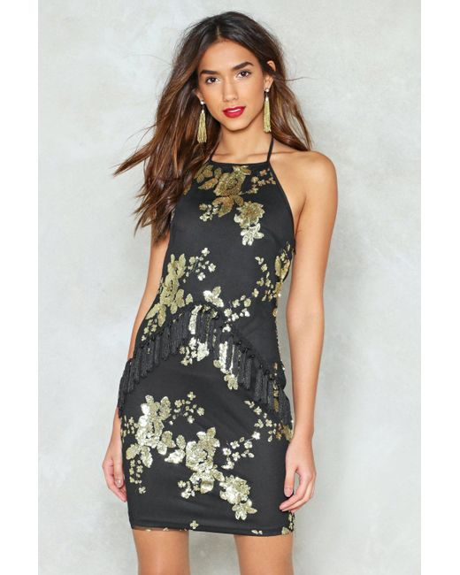 Nasty Gal - Black Sequin Halterneck Mini Dress Sequin Halterneck Mini Dress - Lyst