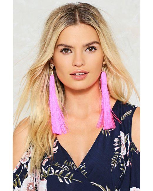 Nasty Gal | Pink 20cm Long Tassel Earrings 20cm Long Tassel Earrings | Lyst