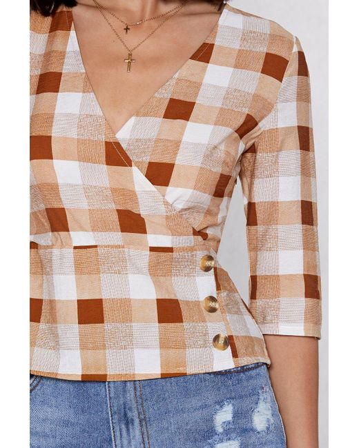 5cc8fa84c16 ... Nasty Gal - Brown Reality Check Top - Lyst ...