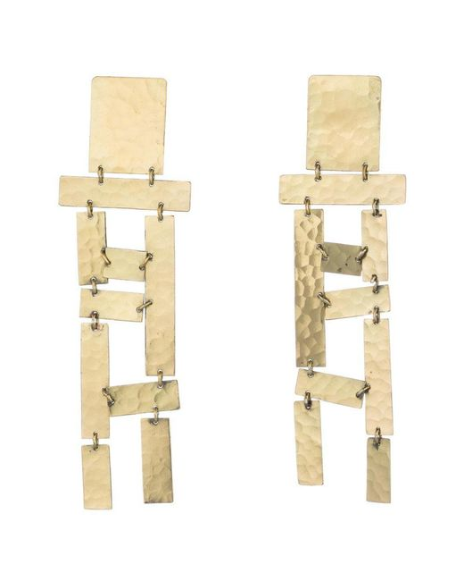 Natori - Metallic Josie Hammered Brass Long Fringe Earrings - Lyst