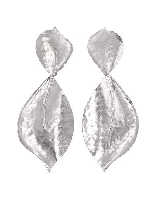 Natori | Metallic Hammered Metal Two Leaf Earrings | Lyst