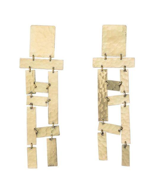 Natori | Metallic Josie Hammered Brass Long Fringe Earrings | Lyst