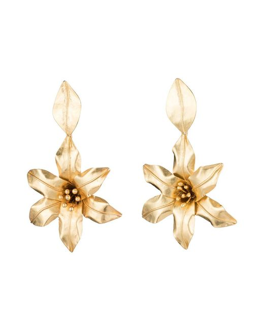 Natori | Black Josie Brass Floral Drop Earrings | Lyst
