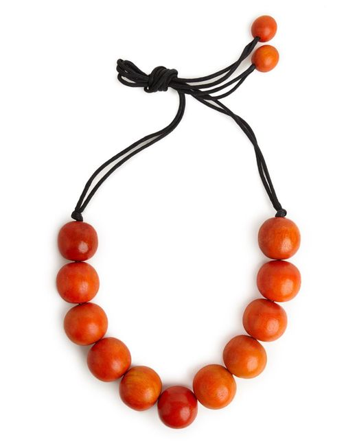 Natori | Red Josie Large Wood Bead Necklace - Cayenne | Lyst