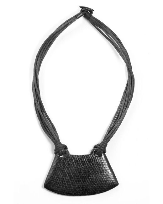 Natori | Black Josie Snakeskin Necklace | Lyst