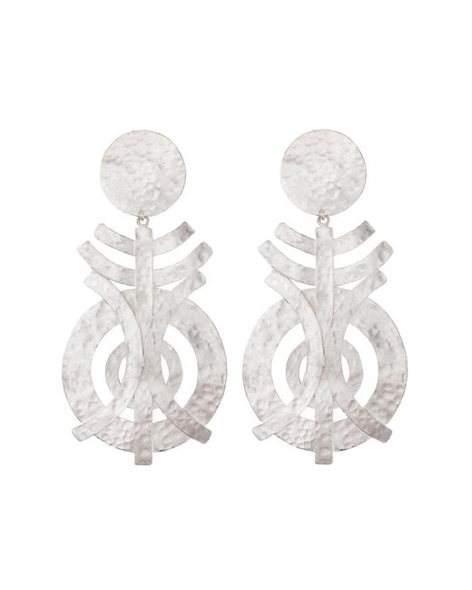 Natori | Metallic Silver Geo Earrings | Lyst