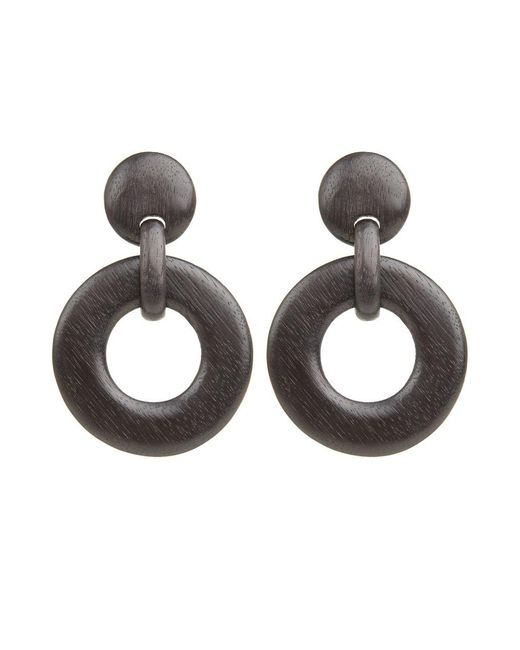 Natori   Black Josie Wood Link Earrings   Lyst