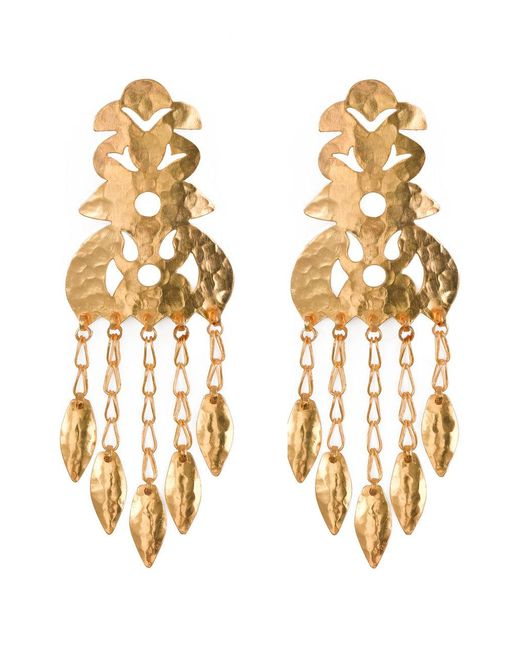 Natori   Metallic Hammered Gold Crown Earrings   Lyst