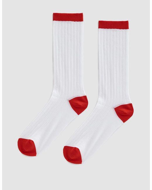 Ganni - White Classon Rib Socks - Lyst