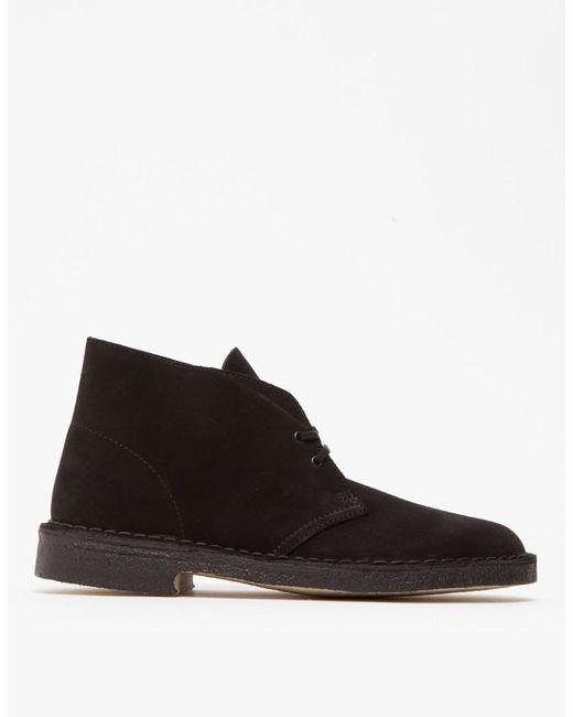clarks desert boot in black suede in black for lyst
