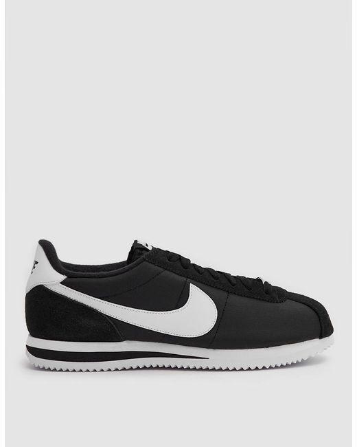 Nike   Cortez Basic Nylon Shoe In Black/white Metallic Si for Men   Lyst ...