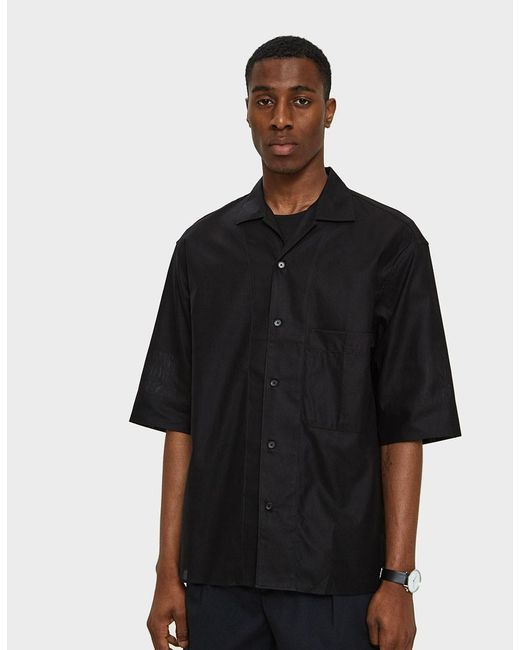 Lemaire - Convertible Collar Shirt In Black for Men - Lyst