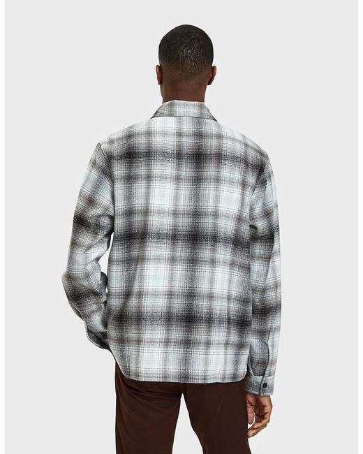 ... Stussy - Gray Zip Up Crepe Plaid Ls Shirt In Grey for Men - Lyst ...