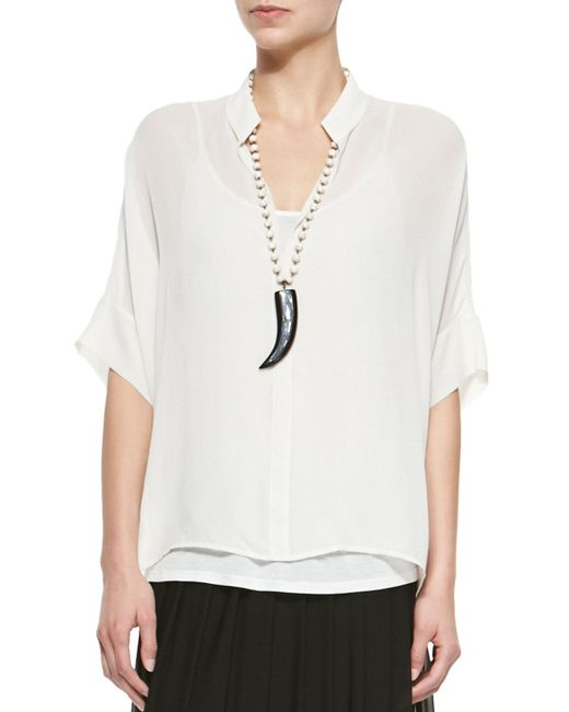 Eileen Fisher - White 3/4-sleeve Silk Box Top - Lyst