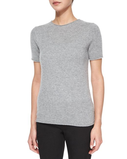 Theory | Gray Tolleree Short-sleeve Cashmere Sweater | Lyst