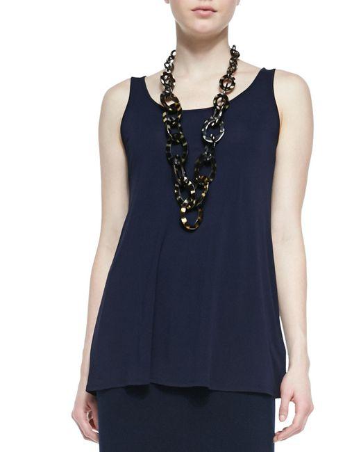 Eileen Fisher - Blue Long Silk Jersey Tunic - Lyst