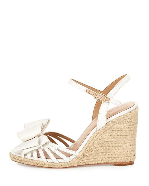 Kate Spade | White Biana Grosgrain Bow Wedge Sandal | Lyst