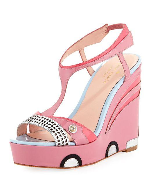 Kate Spade - Pink Deanna Car Platform Wedge Sandal - Lyst