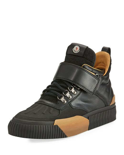 Moncler - Black Cyprien Leather Hiking Boot for Men - Lyst