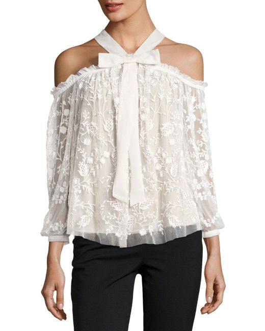 Needle & Thread | White Primrose Cold-shoulder Floral Tulle Top | Lyst