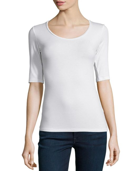 Neiman Marcus - White Soft Touch Half-sleeve Scoop-neck Top - Lyst